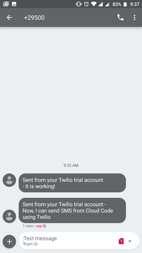 Send SMS using Twilio